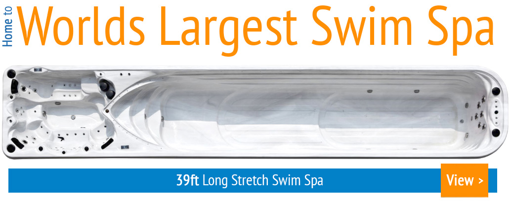 Interior view of the 39ft Stretch Swim Spa, the largest Swim Spa in the World!